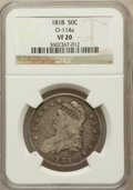 Bust Half Dollars: , 1818 50C VF20 NGC. O-114a. NGC Census: (14/719). PCGS Population(22/725). Mintage: 1,960,322. Numismedia Wsl. Price for pr...