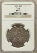 Bust Half Dollars, 1835 50C VF35 NGC. O-108. NGC Census: (29/771). PCGS Population(63/792). Mintage: 5,352,006. Numismedia Wsl. Price for pro...