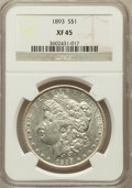 Morgan Dollars: , 1893 $1 XF45 NGC. NGC Census: (328/3044). PCGS Population(507/4604). Mintage: 389,792. Numismedia Wsl. Price for problemf...