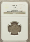 Liberty Nickels: , 1886 5C Good 6 NGC. NGC Census: (33/402). PCGS Population (58/728).Mintage: 3,330,290. Numismedia Wsl. Price for problem f...