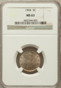 Liberty Nickels: , 1904 5C MS63 NGC. NGC Census: (119/448). PCGS Population (171/620).Mintage: 21,404,984. Numismedia Wsl. Price for problem ...