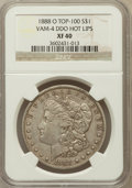 Morgan Dollars, 1888-O $1 Doubled Die Obverse XF40 NGC. Hot Lips Vam-4, Top-100.NGC Census: (0/0). PCGS Population (64/229)....