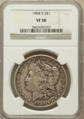 Morgan Dollars: , 1904-S $1 VF30 NGC. NGC Census: (88/1453). PCGS Population(138/2329). Mintage: 2,304,000. Numismedia Wsl. Price for proble...