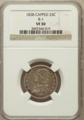 Bust Quarters, 1838 25C Capped VF30 NGC. B-1. NGC Census: (12/177). PCGSPopulation (22/220). Mintage: 366,000. Numismedia Wsl. Price for...