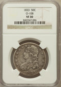 Bust Half Dollars: , 1833 50C VF30 NGC. O-108. NGC Census: (35/1303). PCGS Population(56/1437). Mintage: 5,206,000. Numismedia Wsl. Price for p...
