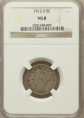 Liberty Nickels: , 1912-S 5C VG8 NGC. NGC Census: (106/896). PCGS Population(174/1615). Mintage: 238,000. Numismedia Wsl. Price for problemf...
