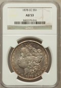 Morgan Dollars: , 1878-CC $1 AU53 NGC. NGC Census: (143/15574). PCGS Population(166/21225). Mintage: 2,212,000. Numismedia Wsl. Price for pr...