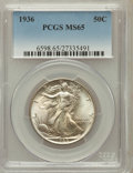 Walking Liberty Half Dollars: , 1936 50C MS65 PCGS. PCGS Population (1892/930). NGC Census:(1128/679). Mintage: 12,617,901. Numismedia Wsl. Price for prob...