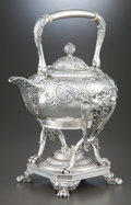Silver Holloware, American:Hot Water Kettles , A TIFFANY & CO. SILVER HOT WATER KETTLE ON STAND . Tiffany& Co., New York, New York, circa 1877-1891. Marks: TIFFANY& CO... (Total: 2 Items)