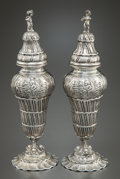 Silver Holloware, Continental:Holloware, A PAIR OF HANAU SILVER SALT AND PEPPER SHAKERS . Makerunidentified, Hanau, Germany, circa 1900. Marks: (lion passant),GE... (Total: 4 Items)