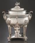 Silver Holloware, American:Hot Water Kettles , AN AMERICAN SILVERED COPPER COFFEE URN. Maker unknown, circa 1850.Marks: Unmarked. 17 inches high x 13 inches diameter (43....(Total: 3 Items)