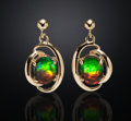 Gems:Jewelry, GEMSTONE AMMOLITE DANGLE EARRINGS - 14K GOLD. ...