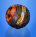 Lapidary Art:Eggs and Spheres, MAGNIFICENT TIGER'S EYE SPHERE . Mount Brockman Station, Pilbara, Western Australia. ...