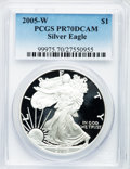 Modern Bullion Coins, 2005-W $1 Silver Eagle PR70 Deep Cameo PCGS. PCGS Population(1909). NGC Census: (11215). Numismedia Wsl. Price for proble...