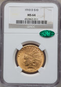 Indian Eagles, 1910-D $10 MS64 NGC. CAC....