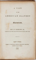 Books:Americana & American History, [Slavery]. E. P. Barrows, Jr. A View of the American SlaveryQuestion. John S. Taylor, 1836. Twelvemo. Publisher's b...