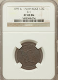 Half Cents, 1797 1/2 C 1 Above 1 Plain Edge XF45 NGC. C-1. NGC Census: (1/9).PCGS Population (6/13). Mintage: 127,840. Numismedia Wsl....