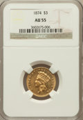 Three Dollar Gold Pieces: , 1874 $3 AU55 NGC. NGC Census: (523/1674). PCGS Population(448/1107). Mintage: 41,800. Numismedia Wsl. Price for problemfr...