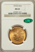Indian Eagles: , 1910-D $10 MS63 NGC. CAC. NGC Census: (1944/1076). PCGS Population(2158/768). Mintage: 2,356,640. Numismedia Wsl. Price fo...