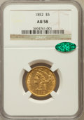 Liberty Half Eagles: , 1852 $5 AU58 NGC. CAC. NGC Census: (194/113). PCGS Population(48/89). Mintage: 573,901. Numismedia Wsl. Price for problem ...