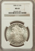 Morgan Dollars: , 1885-CC $1 MS65 NGC. NGC Census: (1766/844). PCGS Population(3948/1044). Mintage: 228,000. Numismedia Wsl. Price for probl...