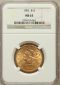 Liberty Eagles: , 1902 $10 MS63 NGC. NGC Census: (76/27). PCGS Population (100/21).Mintage: 82,400. Numismedia Wsl. Price for problem free N...