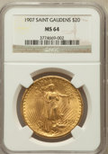 Saint-Gaudens Double Eagles: , 1907 $20 Arabic Numerals MS64 NGC. NGC Census: (2073/812). PCGSPopulation (4323/2513). Mintage: 361,667. Numismedia Wsl. P...