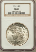 Peace Dollars: , 1924-S $1 MS64 NGC. NGC Census: (886/70). PCGS Population(1193/79). Mintage: 1,728,000. Numismedia Wsl. Price for problem...