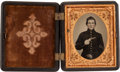 Photography:Tintypes, Ninth Plate Civil War Tintype of a Young Armed FederalInfantryman...