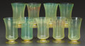 Art Glass:Tiffany , A SET OF NINE TIFFANY STUDIOS FAVRILE WATER GLASSES . TiffanyStudios, Corona, New York, circa 1900. Marks: L.C.T., Favril...(Total: 9 Items)