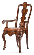 Decorative Arts, Continental:Other , A PORTUGUESE WALNUT AND FRUIT WOOD MARQUETRY ARM CHAIR . Circa1720. 42-5/8 inches high (108.4 cm). ...