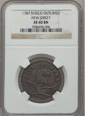 Colonials, 1787 COPPER New Jersey Copper, Outlined Shield XF40 NGC. Maris34-J, W-5115, R.3....