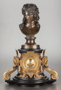 Paintings, A FRENCH PATINATED AND GILT BRONZE MOUNTED FIGURAL MANTLE CLOCK. Early 20th century. 27 inches high (68.6 cm). ... (Total: 2 Items)