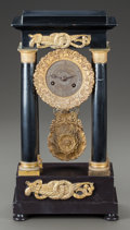 Decorative Arts, Continental:Other , A CONTINENTAL EMPIRE-STYLE GILT BRONZE MOUNTED MANTLE CLOCK. Circa1825. 16 inches high (40.6 cm). ...