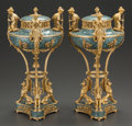 Decorative Arts, French:Other , A PAIR OF FRENCH NEOCLASSICAL HARDSTONE GILT BRONZE MOUNTED URNS.France, circa 1880. 17 inches high (43.2 cm). ... (Total: 2 Items)