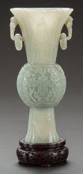 Asian:Chinese, A CHINESE CARVED HARDSTONE GU VASE . China, Qing Dynasty. 10-1/2inches high (26.7 cm). ...