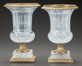 Decorative Arts, Continental:Other , A PAIR OF CONTINENTAL CUT GLASS AND GILT BRONZE MOUNTED CAMPANAVASES . Circa 1910. 13-1/2 inches high (34.3 cm). ... (Total: 2Items)