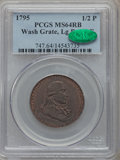 Colonials, 1795 1/2P Washington Grate Halfpenny, Large Buttons, Reeded EdgeMS64 Red and Brown PCGS. CAC. Baker-29B, W-10955, R.1....