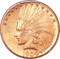 Indian Eagles, 1909-S $10 MS64+ PCGS. CAC....