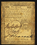 Colonial Notes:Pennsylvania, Pennsylvania April 3, 1772 18d Extremely Fine.. ...