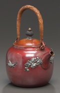 Silver Holloware, American:Mixed Metal, A GORHAM SILVER AND PATINATED COPPER TEA POT . Gorham ManufacturingCo., Providence, Rhode Island, circa 1880. Marks: (ancho... (Total:2 )