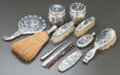 Silver Flatware, American:Whiting, AN ELEVEN-PIECE WHITING SILVER VANITY SET. Whiting ManufacturingCompany, New York, New York, circa 1890. Marks: (W with gri...(Total: 13 Items)