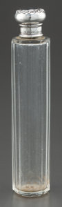 Silver Holloware, British:Holloware, AN EDWARDIAN GLASS AND SILVER BOTTLE. Maker unidentified, London,England, circa 1910. Marks: (lion passant), (leopard's hea...