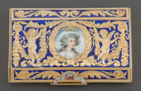 A CONTINENTAL GOLD, DIAMOND, RUBY AND ENAMEL BOX Maker unknown, circa 1920 Marks: Unmarked 5/8 x 3 x 2 inche