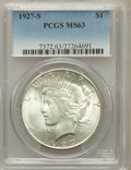 Peace Dollars: , 1927-S $1 MS63 PCGS. PCGS Population (1822/1435). NGC Census:(985/1137). Mintage: 866,000. Numismedia Wsl. Price for probl...