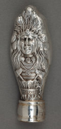 Silver Holloware, American:Other , AN UNGER BROS. SILVER INDIAN HEAD SEAL HOLDER . Unger Bros.,Newark, New Jersey, circa 1905. Marks: UB (intertwined)S...