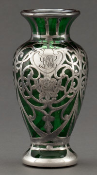 AN AMERICAN GLASS AND SILVER OVERLAY VASE Probably Gorham Manufacturing Co., Providence, Rhode Island, circa 1900