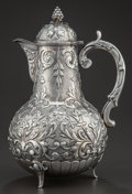 Silver Holloware, Continental:Holloware, A DUTCH SILVER WINE JUG . Maker unidentified, circa 1870. Marks:(dolphin), (star), C, (effaced mark). 10-1/2 x 7-3/8 x ...