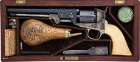 Cased and Factory Engraved Colt Model 1851 Navy Revolver, with Single Piece Checkered Ivory Grips, and Accessories