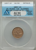 Flying Eagle Cents, 1857 1C -- Reverse Die Clash by Seated Liberty Quarter, Cleaned --ANACS. AU50 Details. FS-901. S-8....